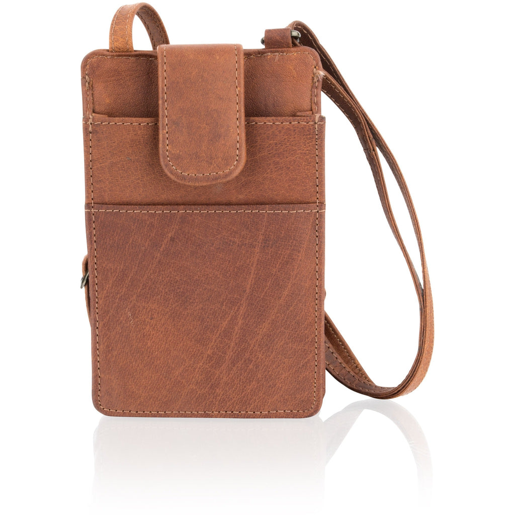 Woodland Leather Unisex Naturally Stained Vintage Leather Small Cross Body Bag