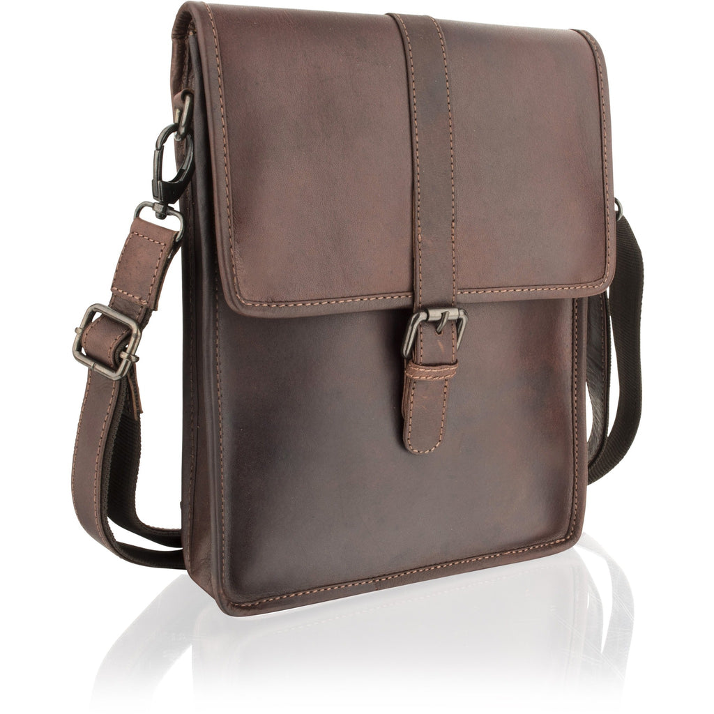Woodland Leather Portrait-Style Natural Leather Messenger Bag-Equestrian Co.