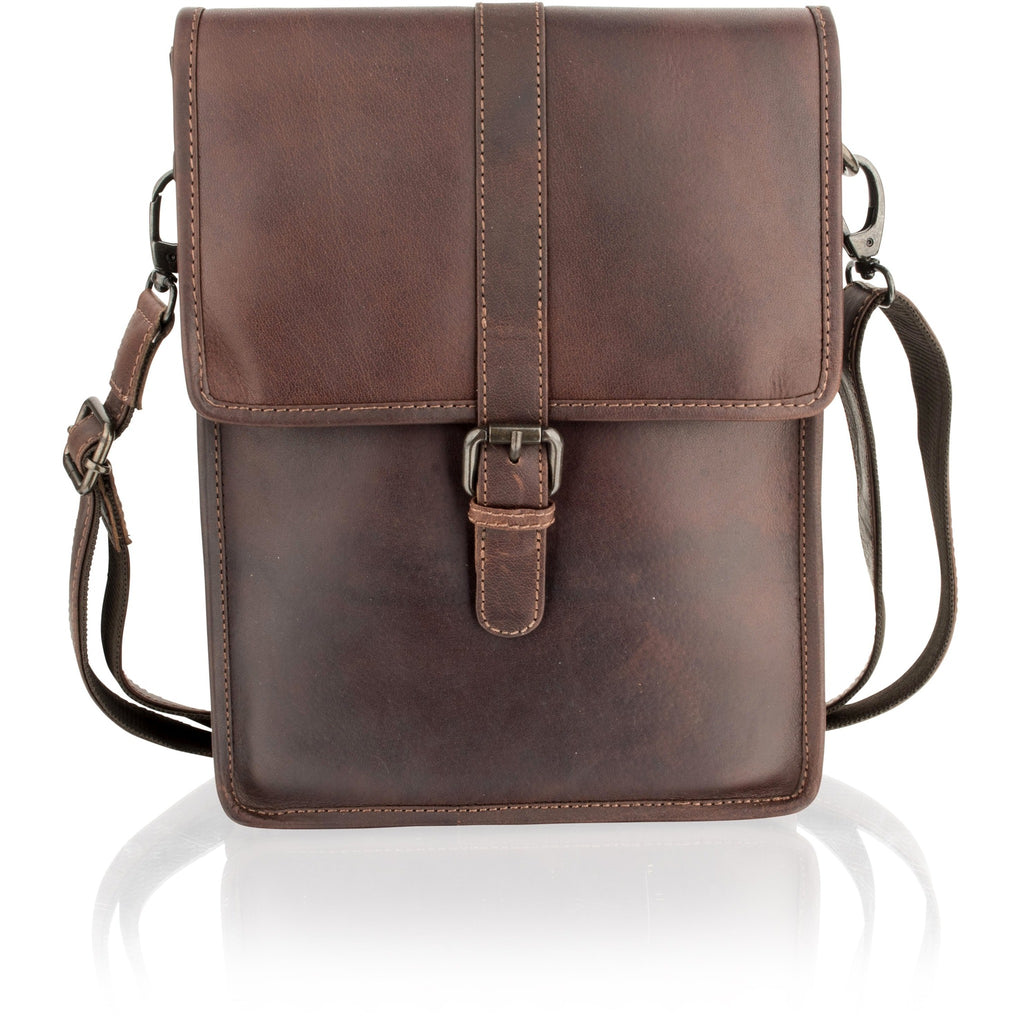 Woodland Leathers Portrait-Style Natural Leather Messenger Bag