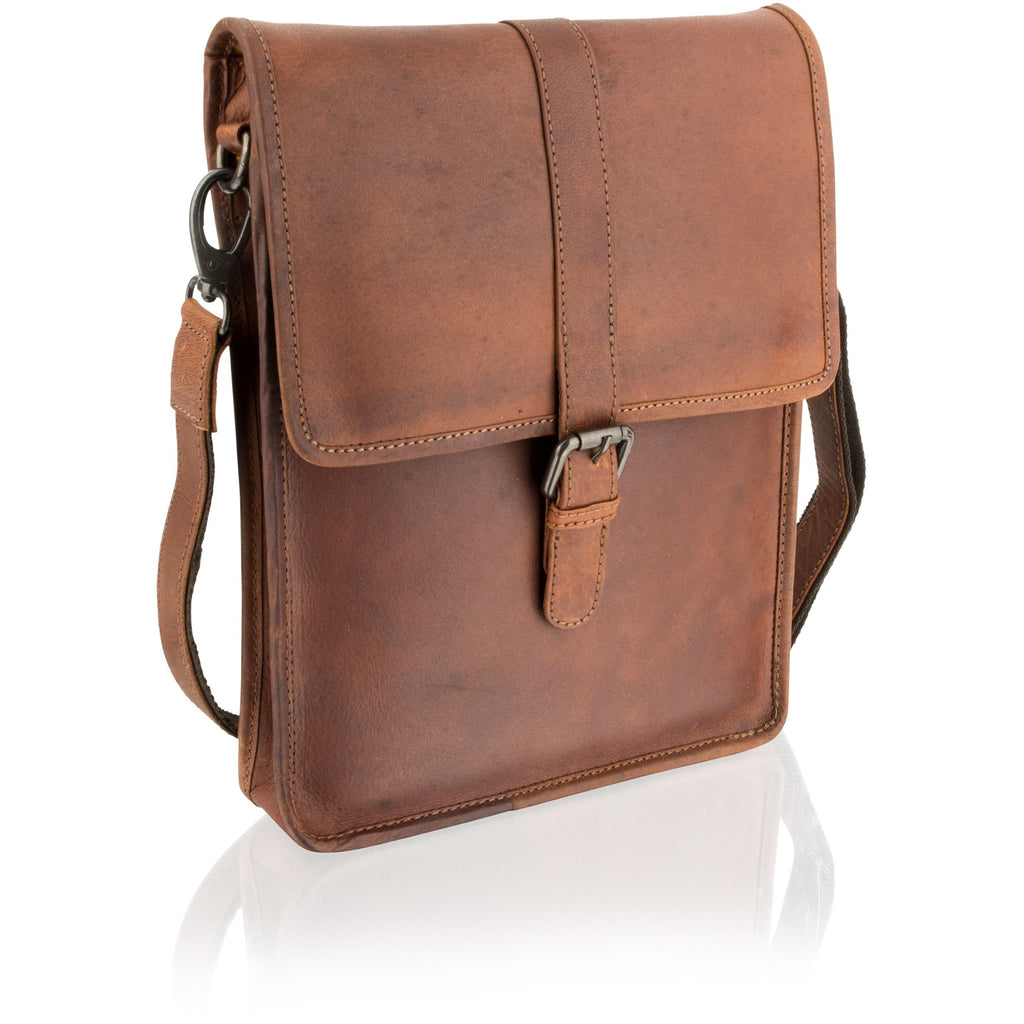 Woodland Leather Portrait-Style Natural Leather Messenger Bag