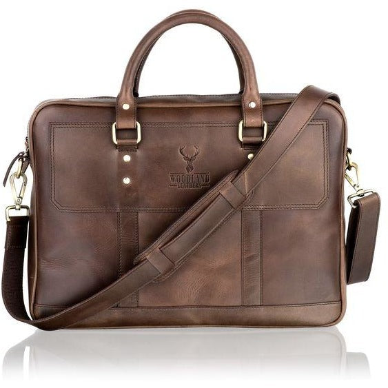 Woodland Leather Unisex Slim Messenger Bag / Tote Bag-Equestrian Co.