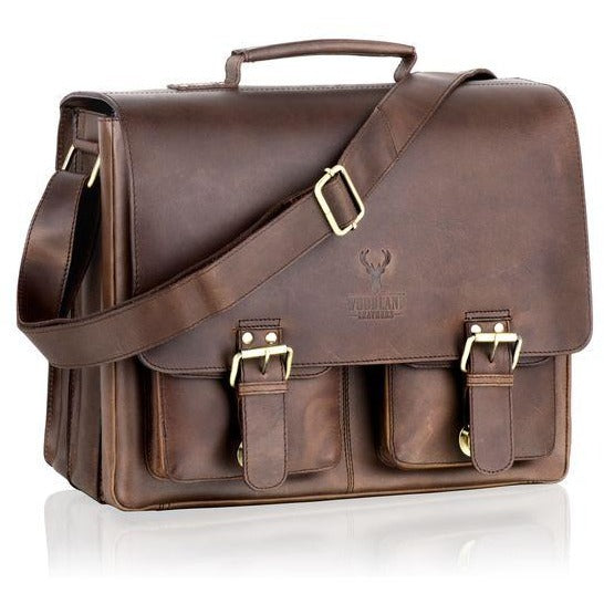 Woodland Leather Large Rugged Flapover Satchel / Briefcase-Equestrian Co.