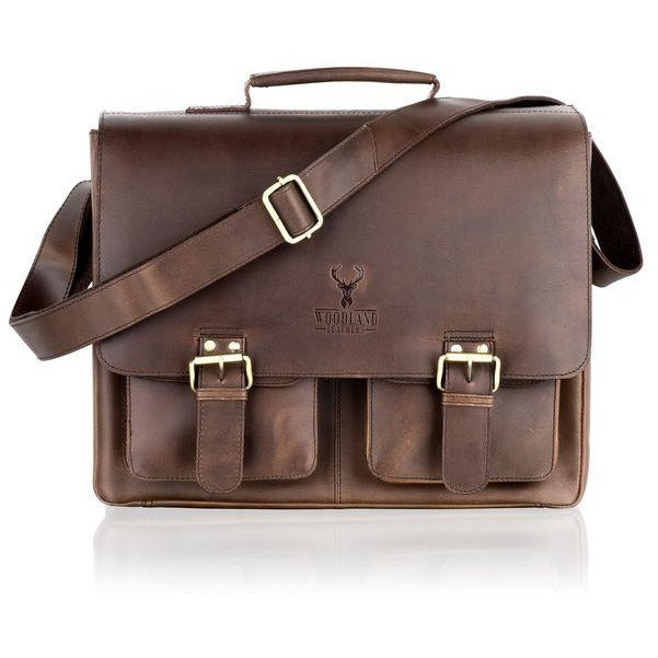Woodland Leather Large Rugged Flapover Satchel / Briefcase