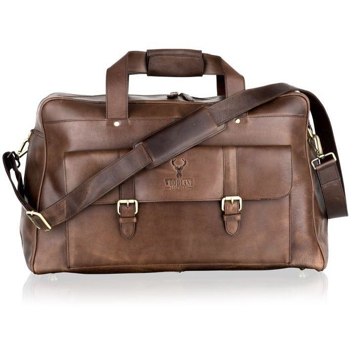 Woodland Leather Cabin Size Rugged Leather Holdall/Travel Bag