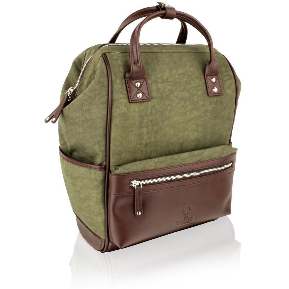 Woodland Leather Olive Country-Style Rucksack / Backpack - 14.5""