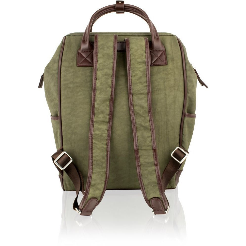 "Woodland Leather Olive Country-Style Rucksack / Backpack - 14.5""-Equestrian Co."