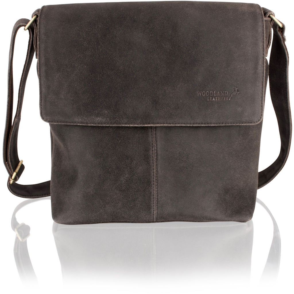 Woodland Leather Unisex Crackle Leather Messenger Bag - 14-Inch Laptop-Equestrian Co.