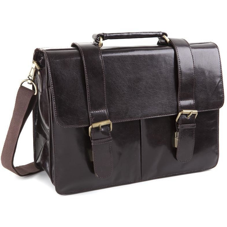 Woodland Leathers Glaze Satchel Briefcase With Top Handle - Equestrian Co. - 3