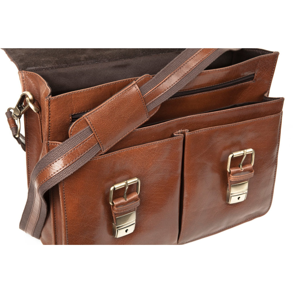 Woodland Leathers Glaze Satchel Briefcase With Top Handle - Equestrian Co. - 2