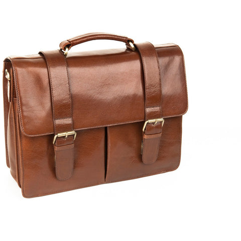 Woodland Leathers Glaze Satchel Briefcase With Top Handle - Equestrian Co. - 1