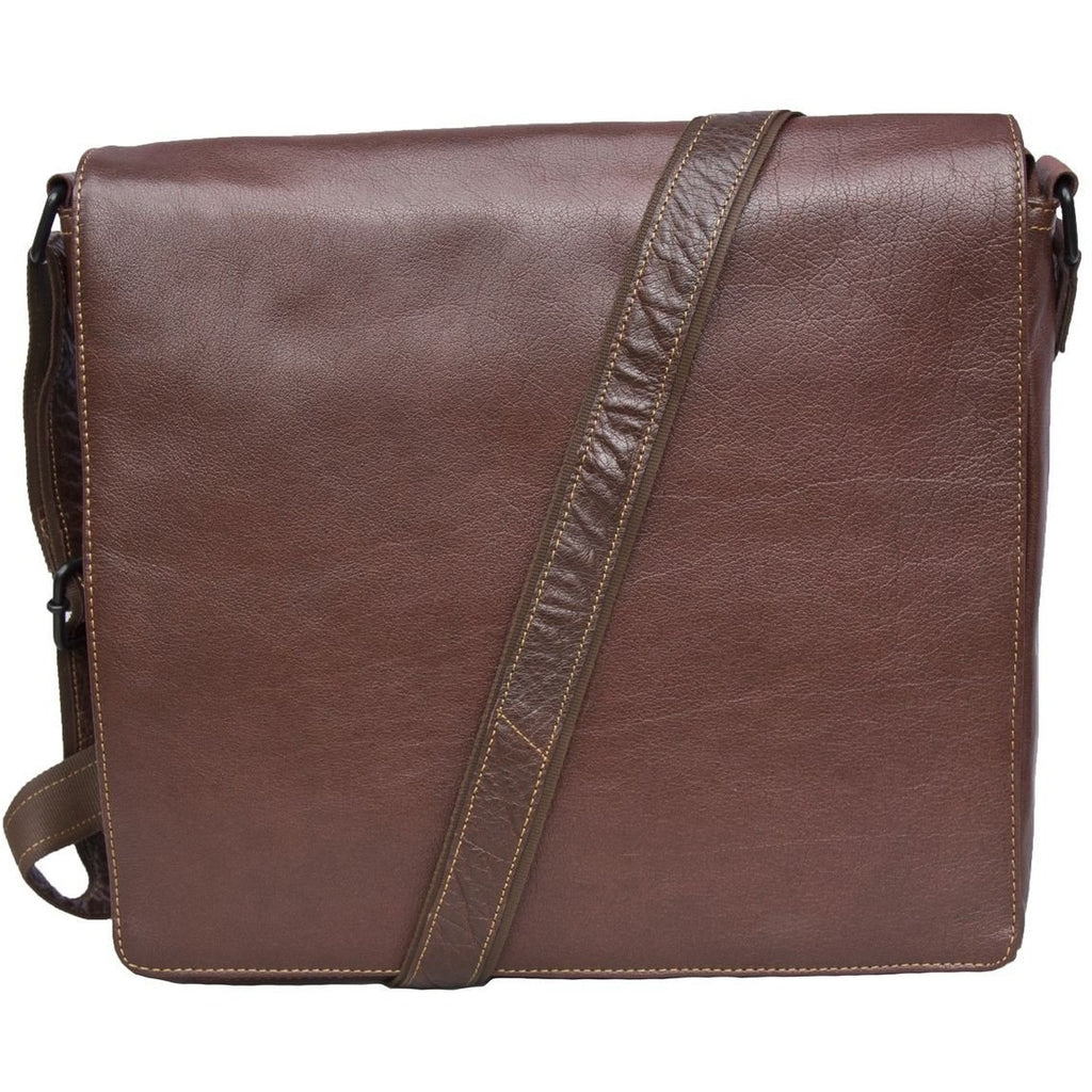 Woodland Leathers Tribal High Grade Buffalo Leather Landscape Messenger Bag
