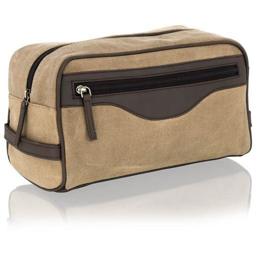 Woodland Leather Canvas Wash / Toiletry Bag-Equestrian Co.