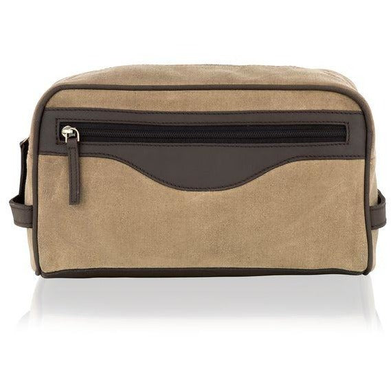Woodland Leather Canvas Wash / Toiletry Bag