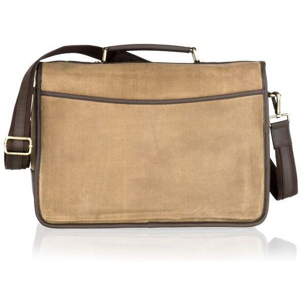 Woodland Leather Unisex Canvas Satchel-Style Briefcase