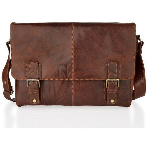 Woodland Leathers Unisex Mahogany Messenger Bag