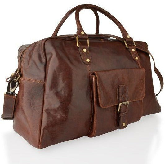 Woodland Leathers Large Mahogany Leather Holdall