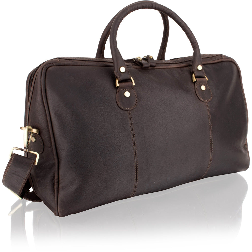 Woodland Leather Cowhide Dark Brown Medium Holdall-Equestrian Co.