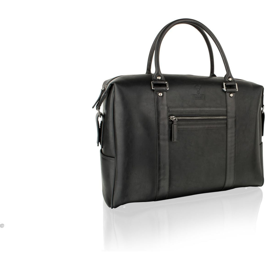 Woodland Leather Black Cabin Holdall with Central Zip-Equestrian Co.
