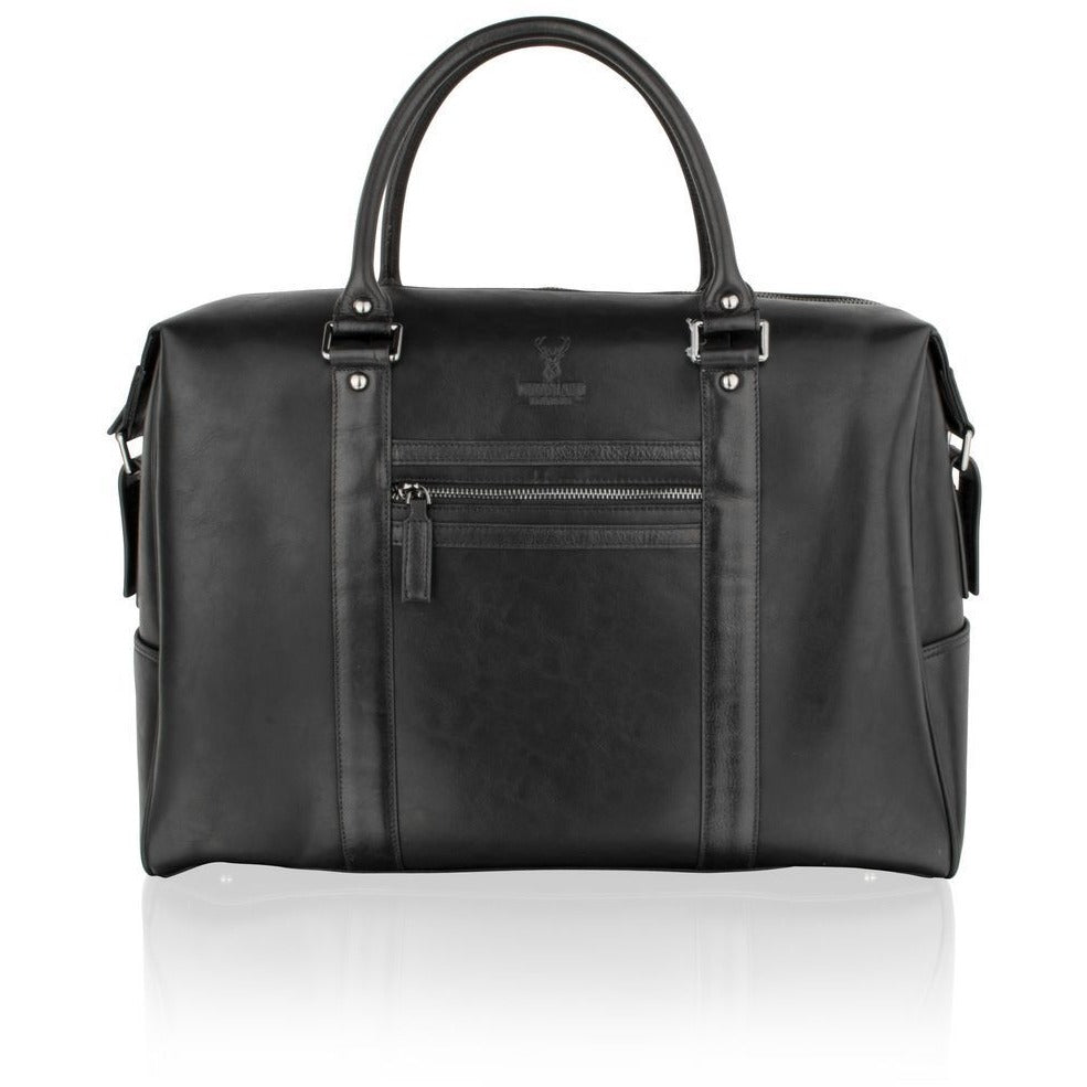 Woodland Leather Black Cabin Holdall with Central Zip