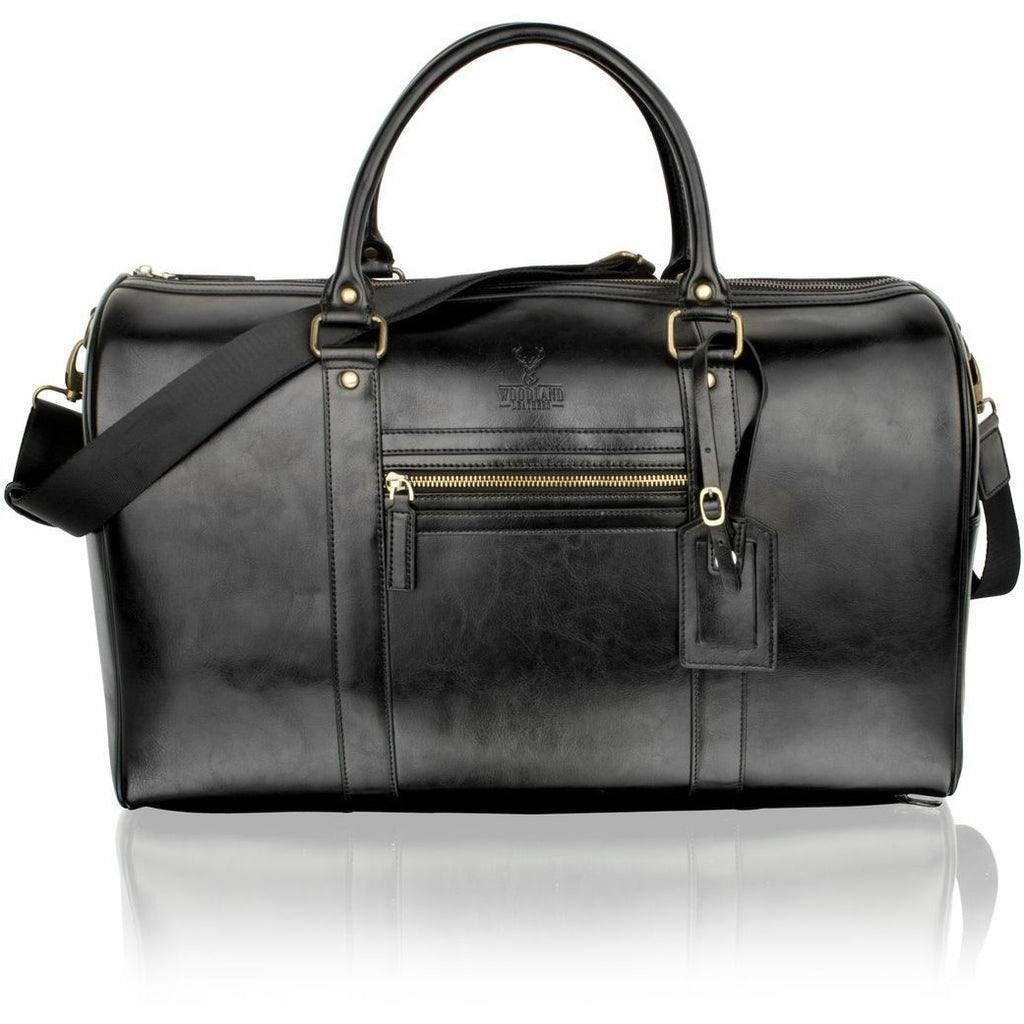 "Woodland Leather Black 18.5"" Weekend Bag / Overnight Bag"