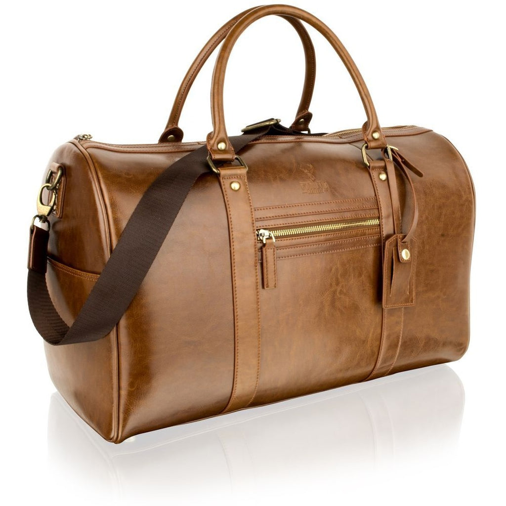 "Woodland Leather Cognac 18.5"" Weekend Bag / Overnight Bag"