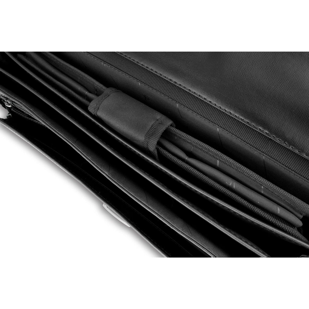 Lombard Black Top Grade Bonded Leather Briefcase-Equestrian Co.