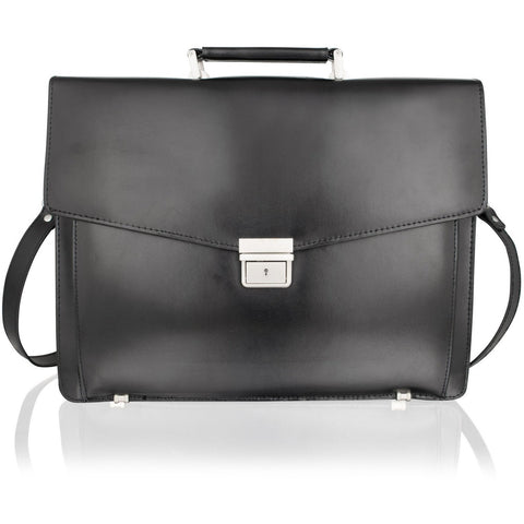 Lombard Black Top Grade Bonded Leather Briefcase
