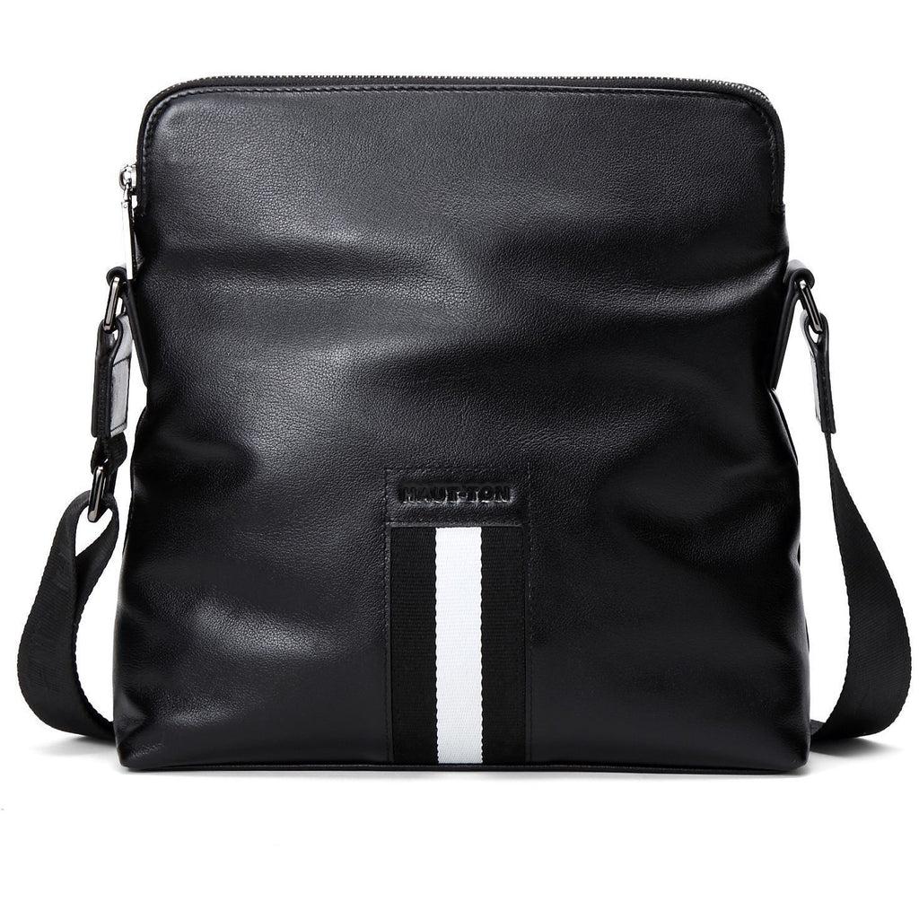 Hautton Unisex Black Cowhide Leather Messenger Bag - Portrait