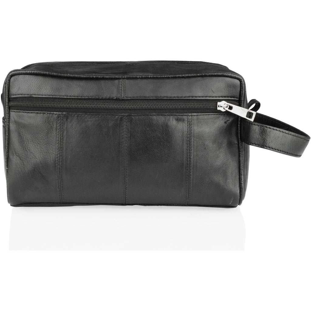Woodland Leather Black Leather Essential Wash Bag