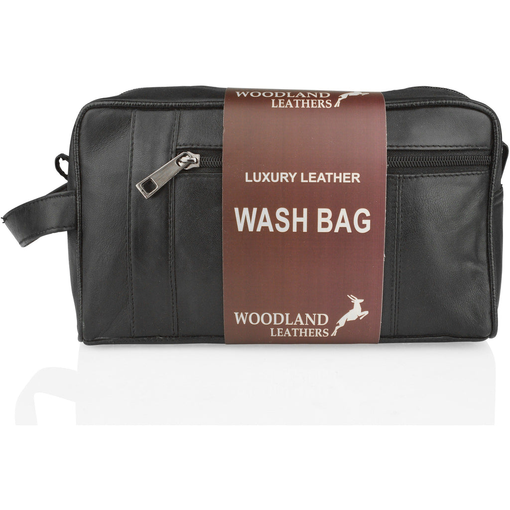 Woodland Leathers Black Leather Essential Wash Bag