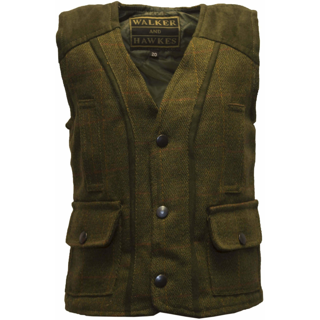 Walker & Hawkes Dark Sage Baby/Toddler Tweed Waistcoat/Gilet/Vest-Equestrian Co.