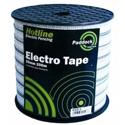 Hotline Paddock White Electric Fence Tape - 200m-Equestrian Co.