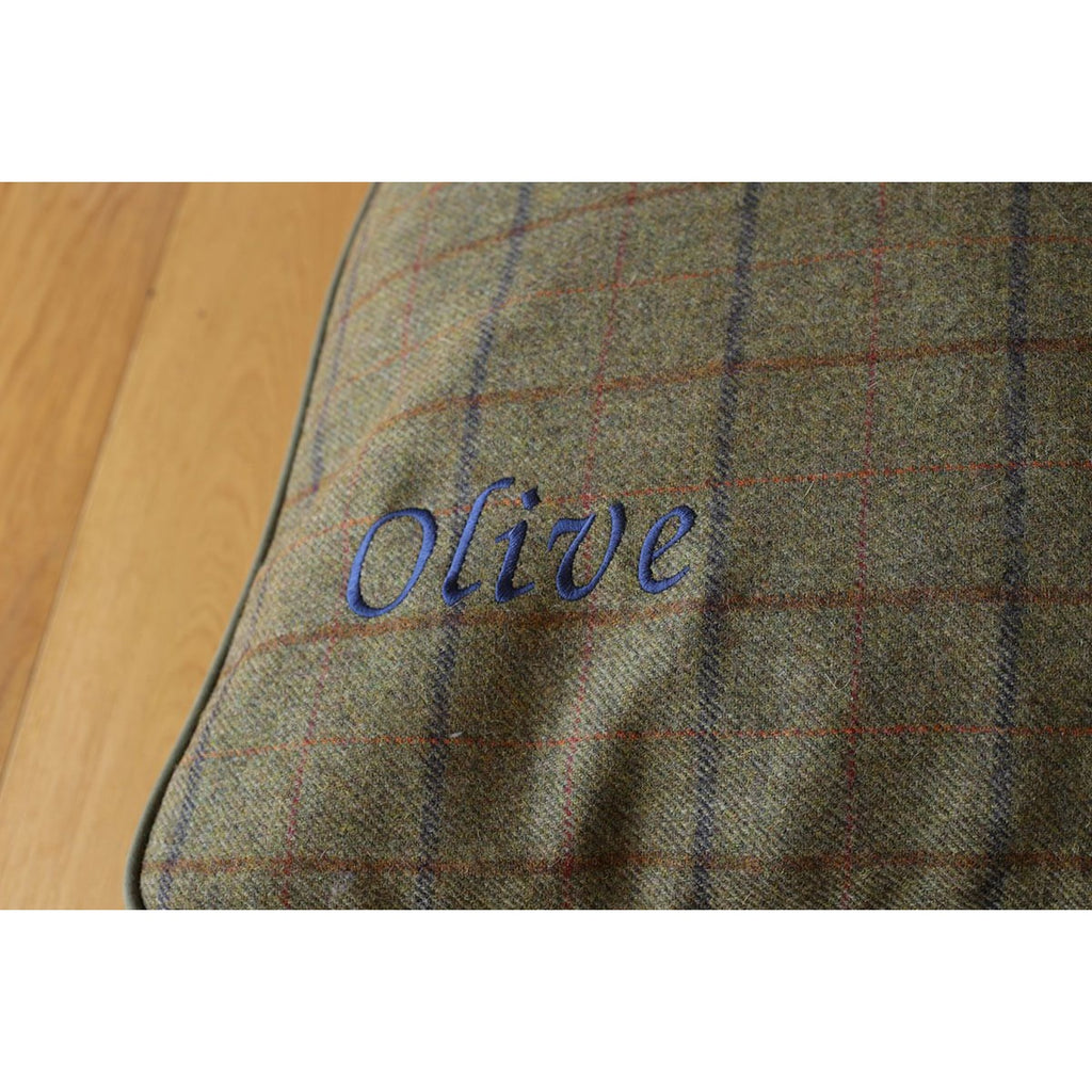 Hunt & Wilson Luxury Personalised Tweed Cushion Dog Bed-Equestrian Co.