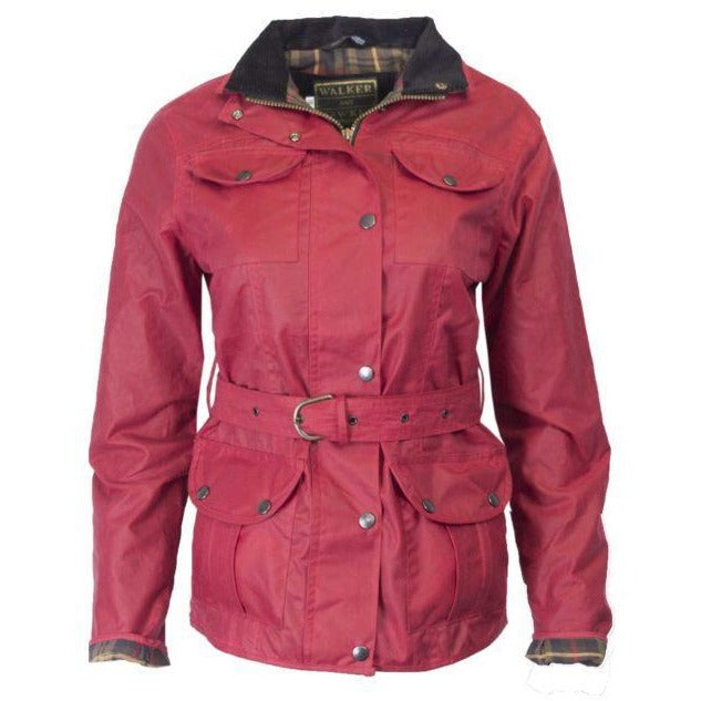 Walker & Hawkes Ladies' Red Belted Wax Jacket-Equestrian Co.