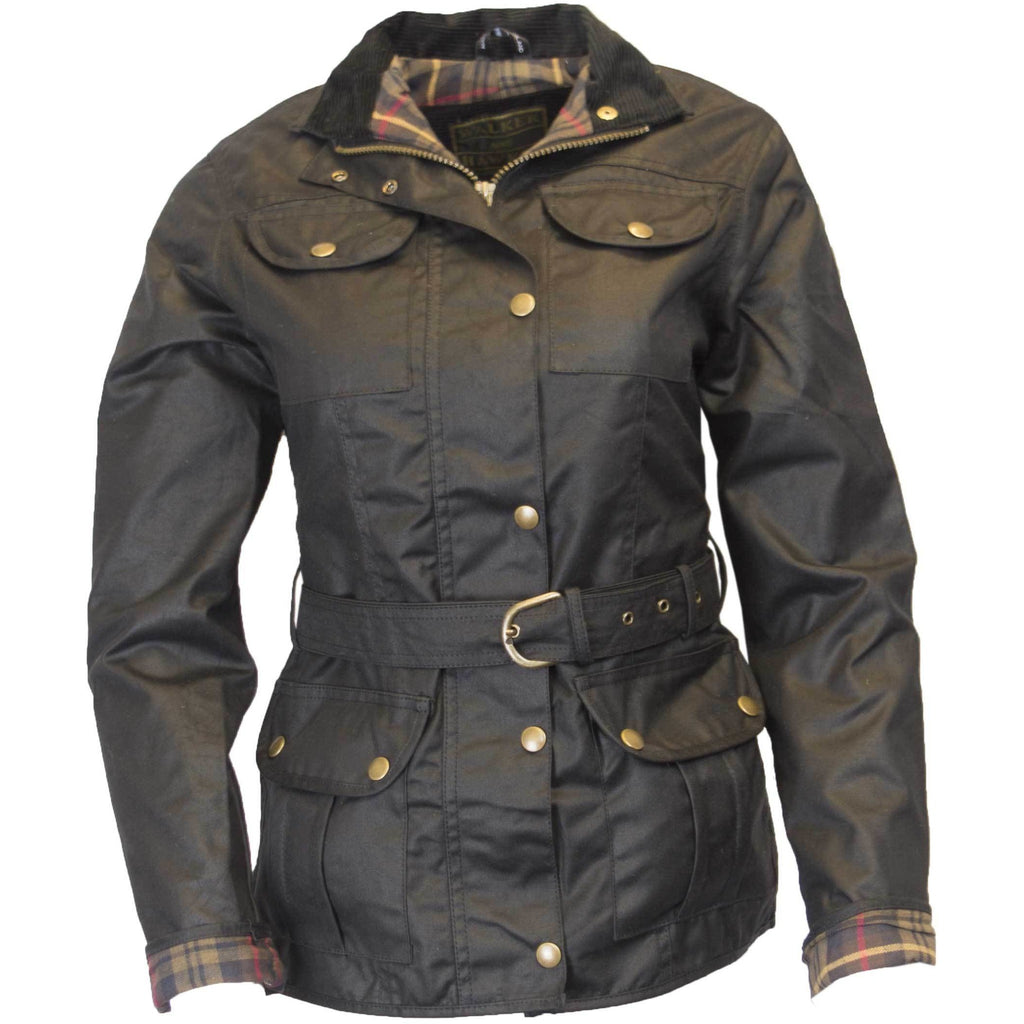 Walker & Hawkes Ladies' Black Belted Wax Jacket-Equestrian Co.