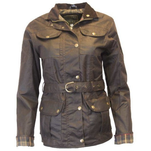 Walker & Hawkes Ladies' Brown Belted Wax Jacket-Equestrian Co.