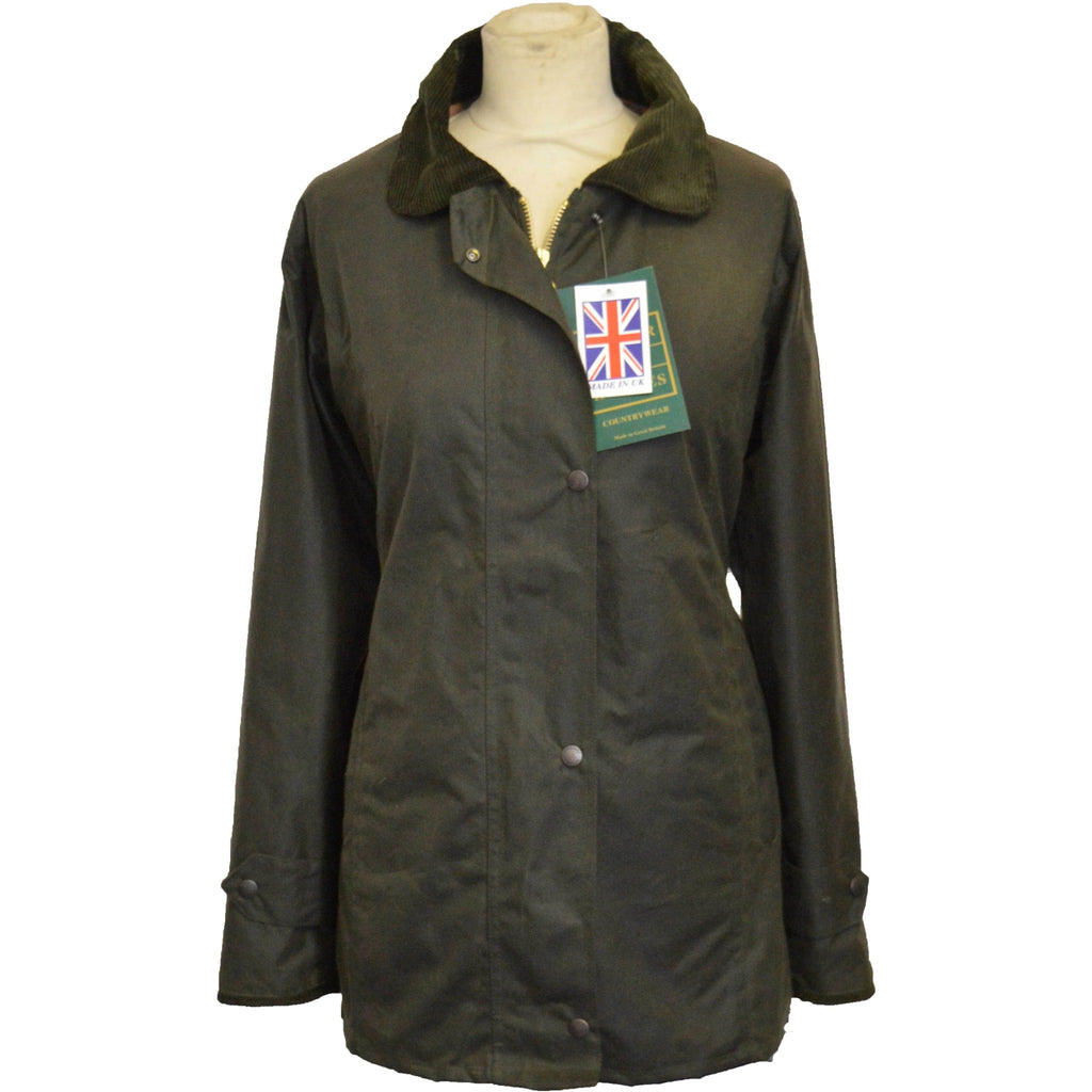 Walker & Hawkes Ladies' Olive Country Wax Waterproof Coat / Jacket-Equestrian Co.