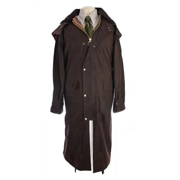 Beaver Men's Brown Long Waterproof Waxed Cotton Coat-Equestrian Co.