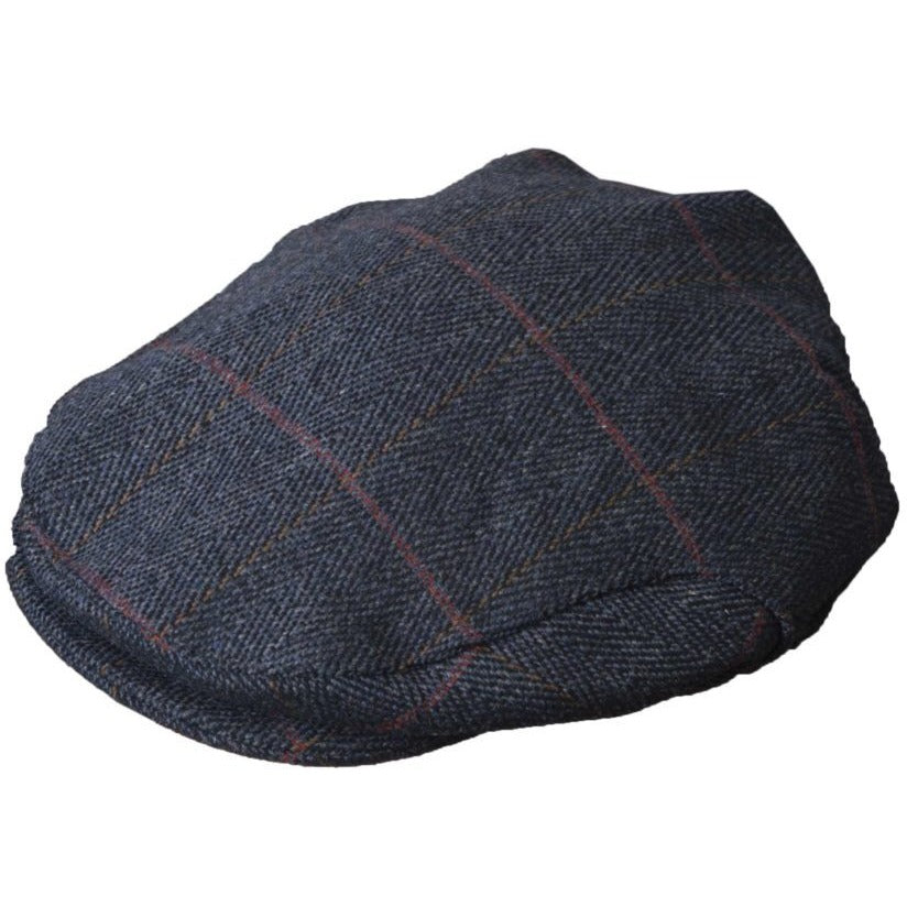 Walker & Hawkes Unisex Blue Derby Tweed Shooting / Hunting Flat Cap