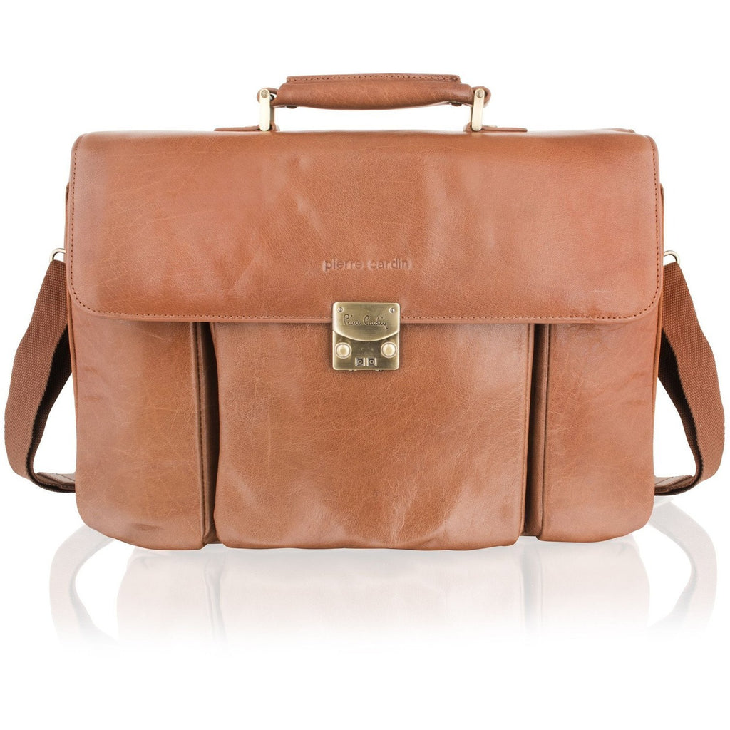 Pierre Cardin Gold Satin Lined Leather Satchel Briefcase - Equestrian Co. - 1