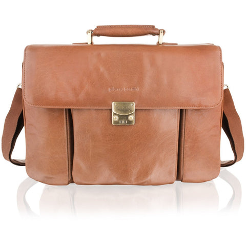 Pierre Cardin Gold Satin Lined Leather Satchel Briefcase