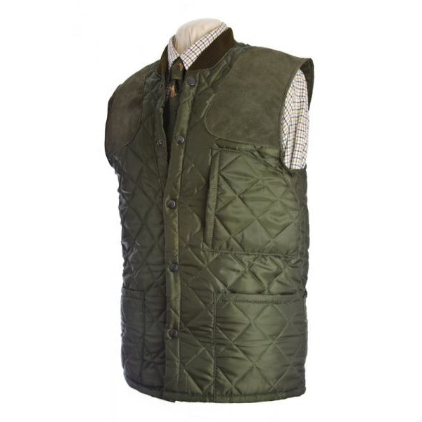 Beaver Men's Olive Quilted Shooting Waistcoat / Gilet / Vest-Equestrian Co.