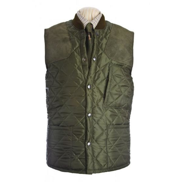 Beaver Men's Olive Quilted Shooting Waistcoat / Gilet / Vest