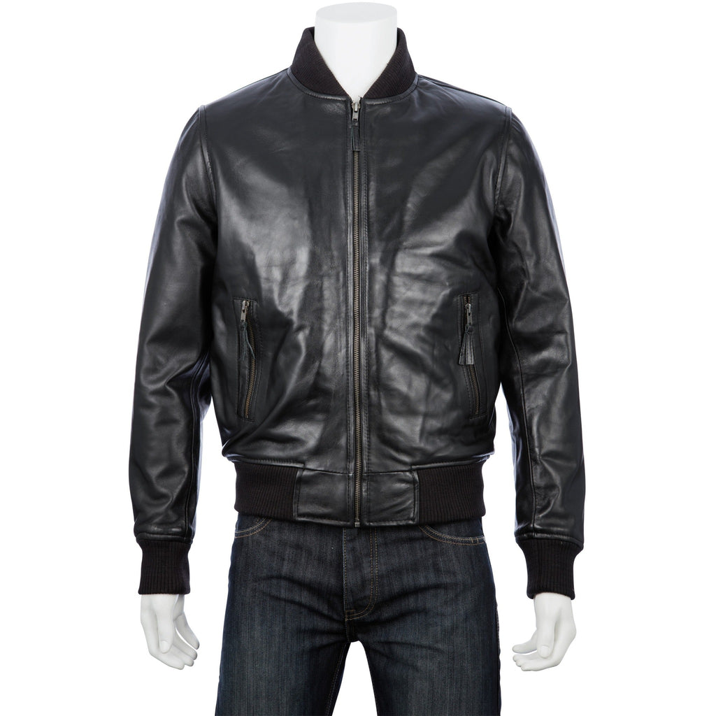 Woodland Leathers Men's Black Leather Bomber Style Jacket