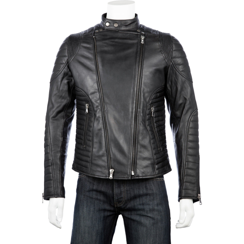 Woodland Leather Men's Black Leather Biker Jacket-Equestrian Co.