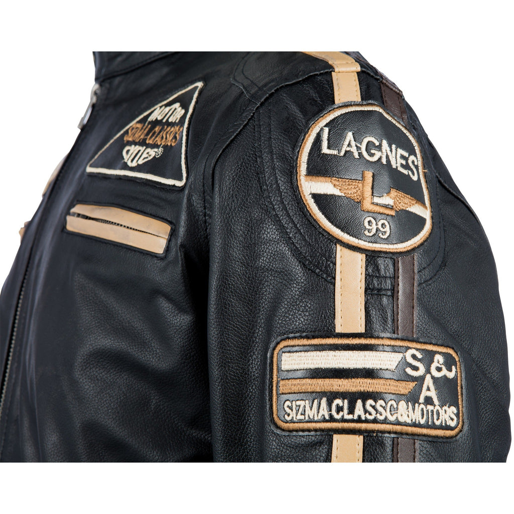 Woodland Leather Men's Leather Biker Jacket - Retro Racing