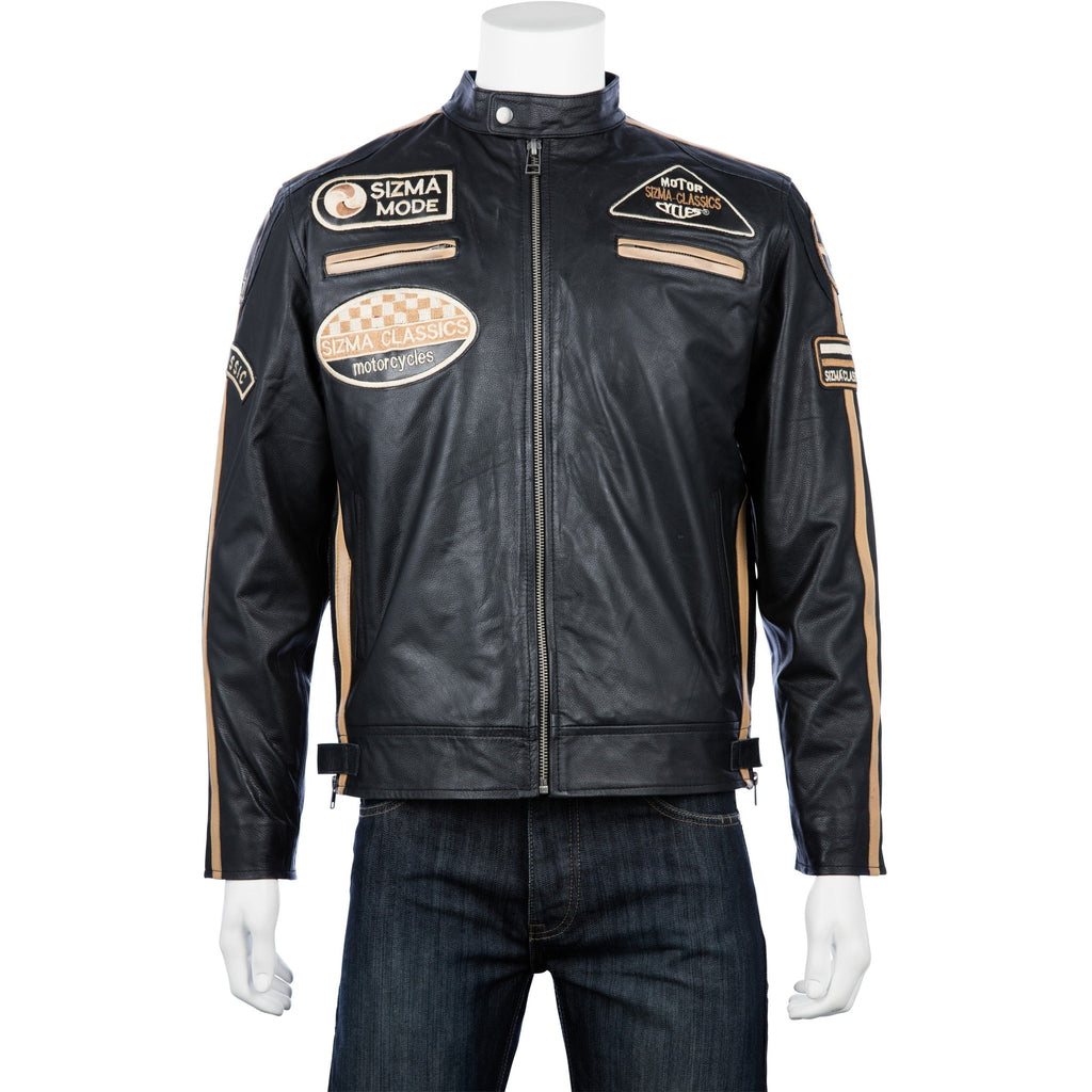 Woodland Leathers Men's Black Leather Biker Jacket with Retro Racing Badges
