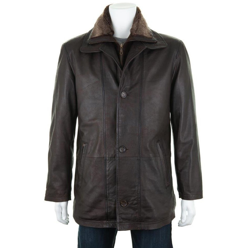 Woodland Leather Mahogany Leather Men's Car Coat / Jacket-Equestrian Co.