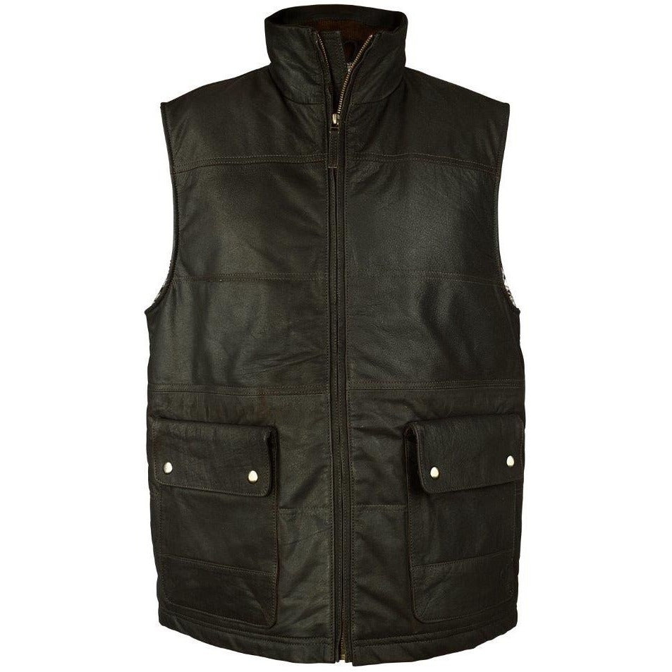Woodland Leather Men's Leather Puffa Gilet / Waistcoat-Equestrian Co.