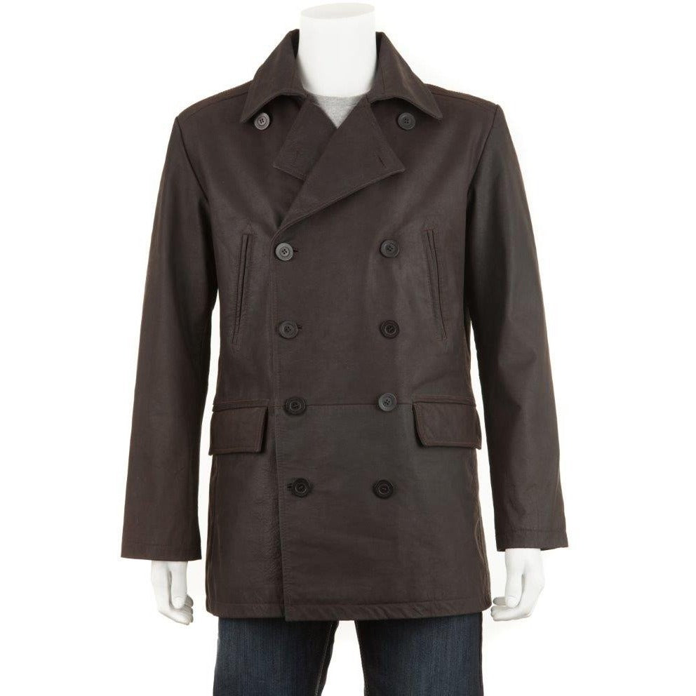 Woodland Leathers Men's Double Breast Wax Jacket / Pea Coat